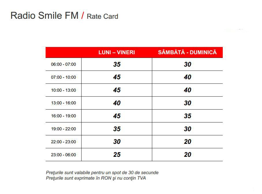 Ratecard Smile FM Vaslui